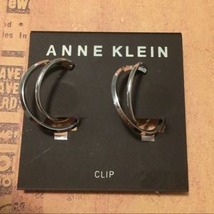 Anne Klein Silver Twisted Hoop Clip on Earrings
